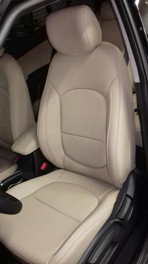 Courotec Recaro no ABC | Revestimento banco em couro Hyundai Creta couro bege com laterais ...